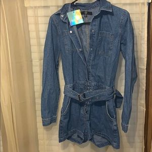 Jean long sleeve romper